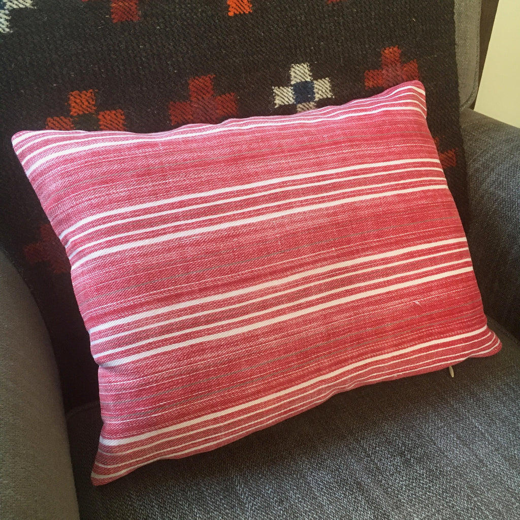 small red striped cushion cover in vintage fabric