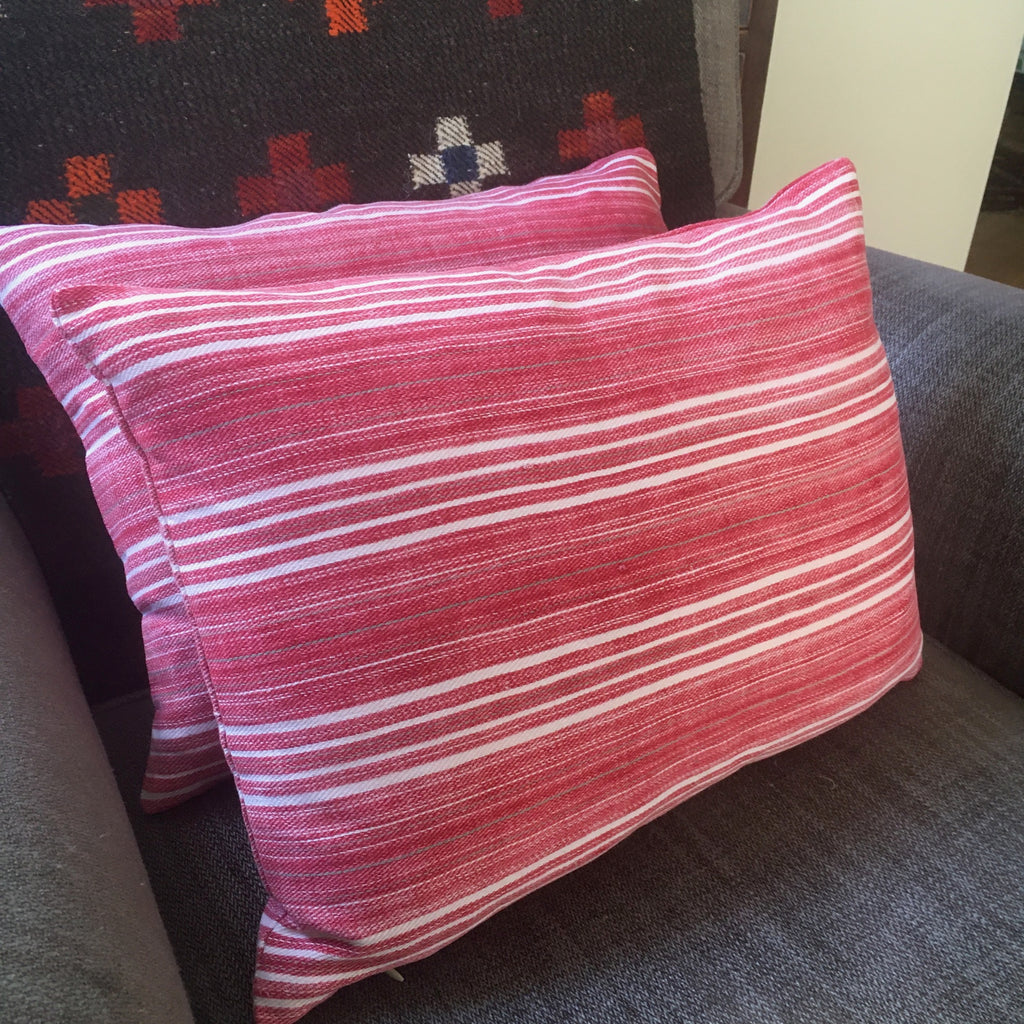 red striped pillow in vintage fabric