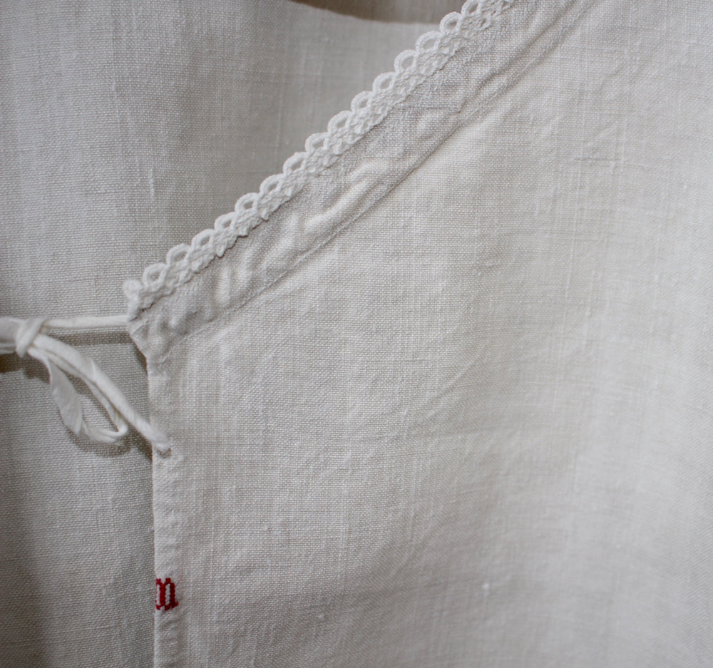 Antique French linen chemise - linen summer dress