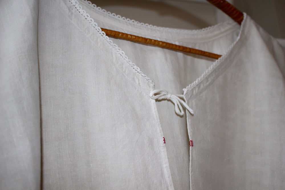 Antique French linen chemise - natural unbleached rustic linen