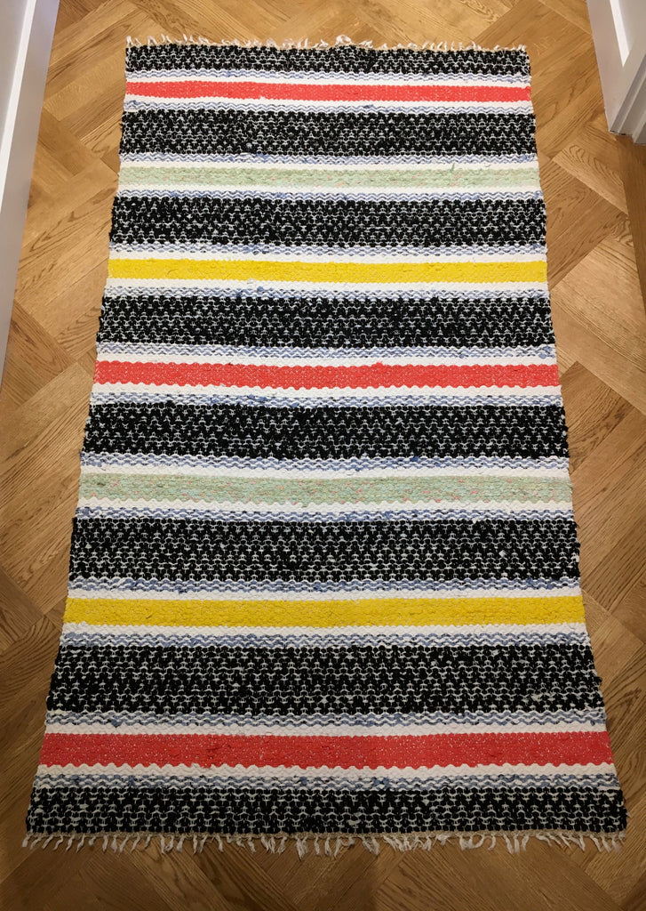 Bold striped vintage Swedish rug by Rebecca's Aix Home