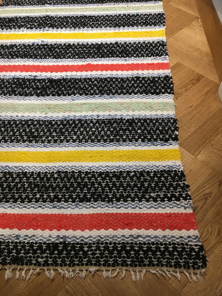 Bold striped vintage Swedish rug  black, yellow and red stripes. Hall runner