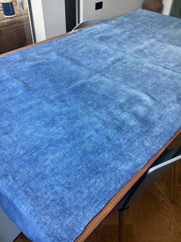 antique french indigo linen table runner by Rebecca's Aix Home