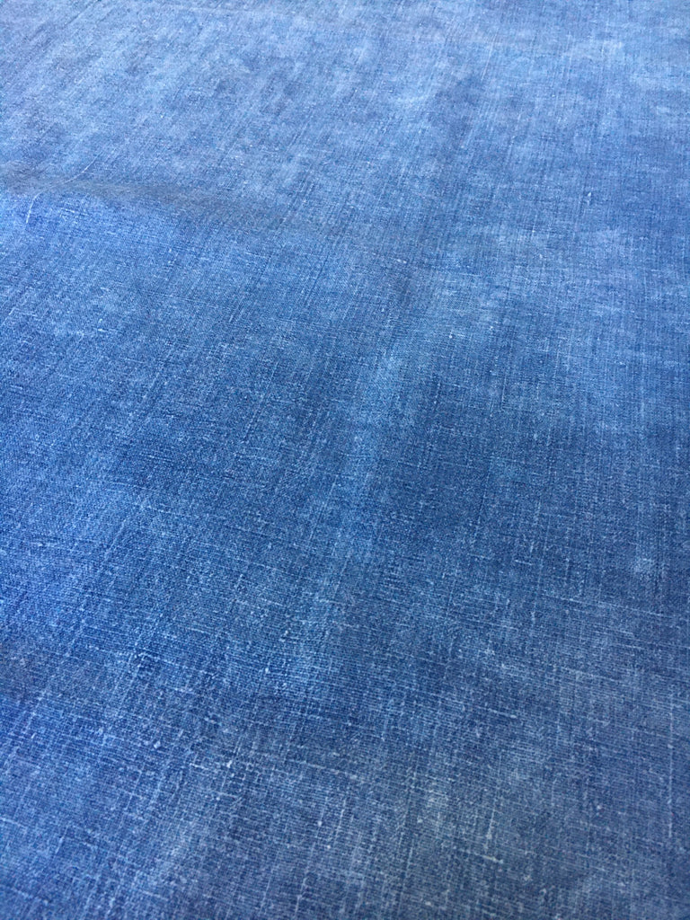 antique french indigo linen table runner or upholstery fabric