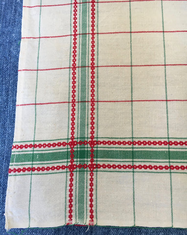 vintage french tea towels green and red stripe dishcloths by Rebecca's Aix Home