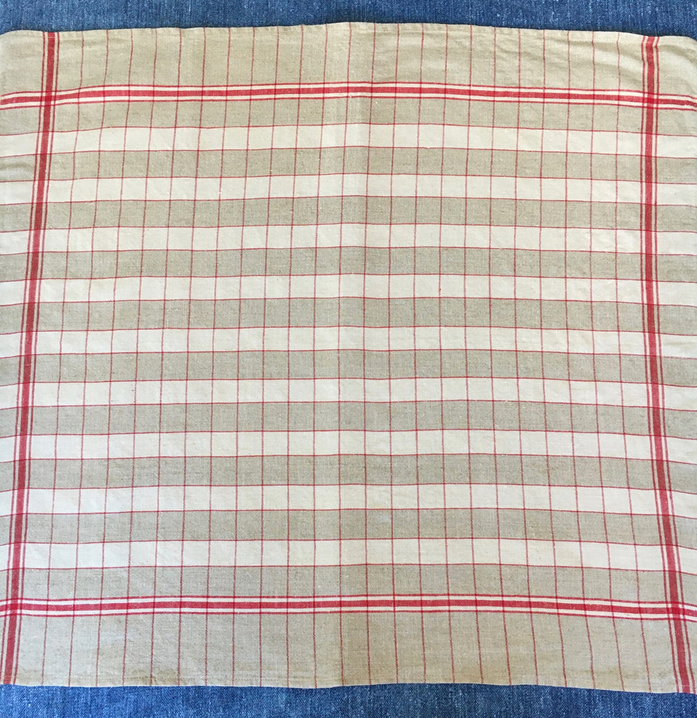 red and beige check linen french torchons dischcloths for glasses