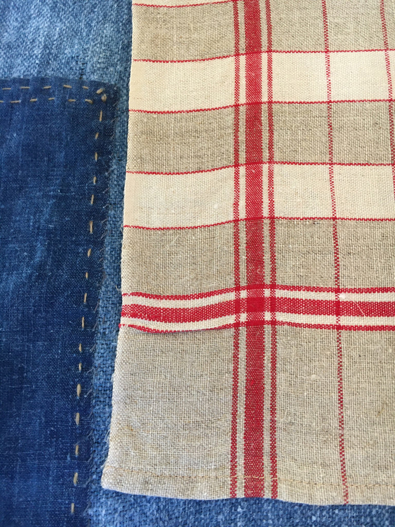 red and beige check linen french torchons vintage kitchen towels