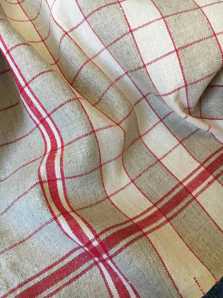 red and beige check linen french torchons kitchen towels