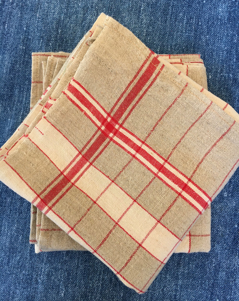 pair of red and beige check linen french torchons kitchen towels