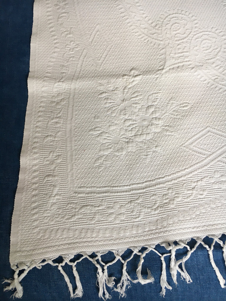 vintage french pique marseillais cotton bedspread monogrammed JM and fringed