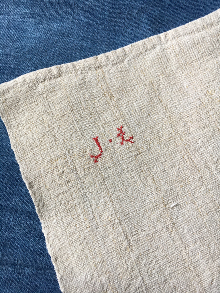 antique french linen raspberry stripe grainsack material for upholstery projects