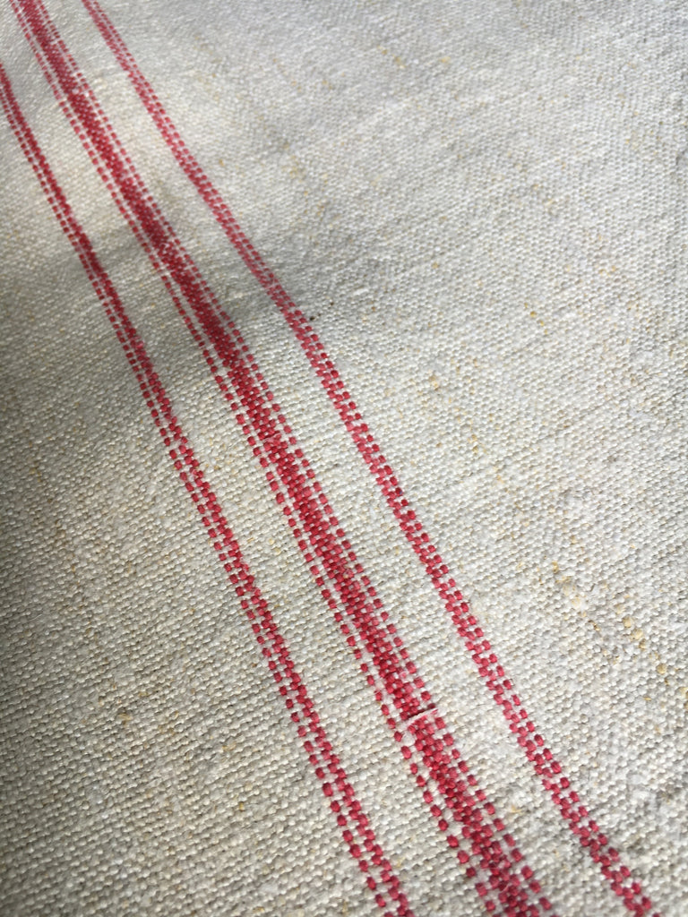 antique french linen raspberry stripe garden tablecloth for sewing