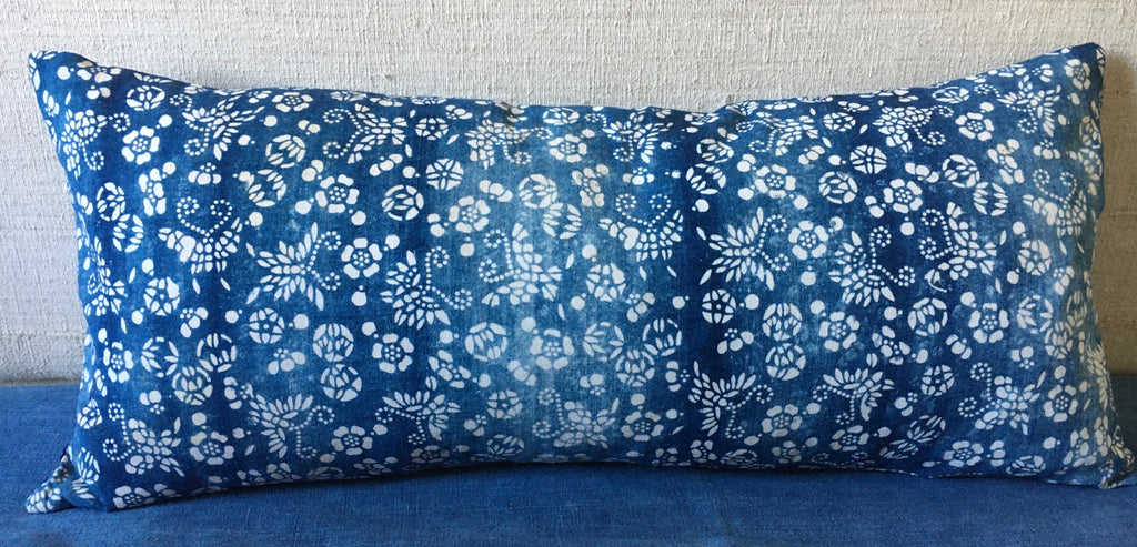 vintage chinese paste resist long cushion in blue and white indigo with linen reverse