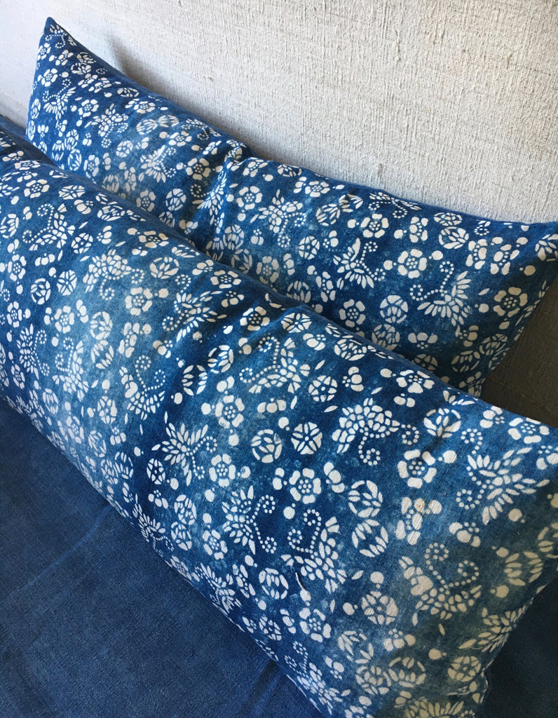pair of vintage chinese paste resist cushion cover in blue and white indigo  by Rebecca's Aix Home