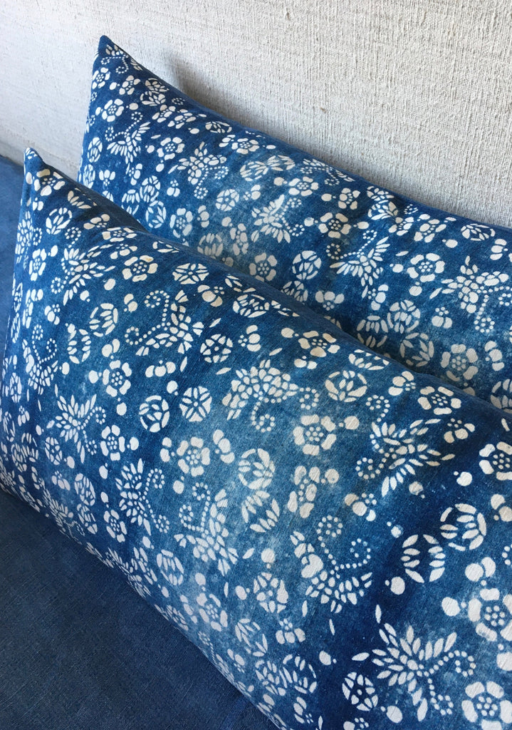 vintage chinese paste resist cushion cover in blue and white indigo with linen reverse