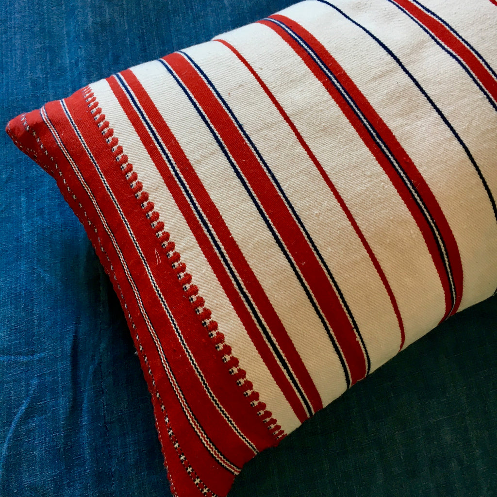 Vintage Slovenian striped hand woven pillow with feather pad