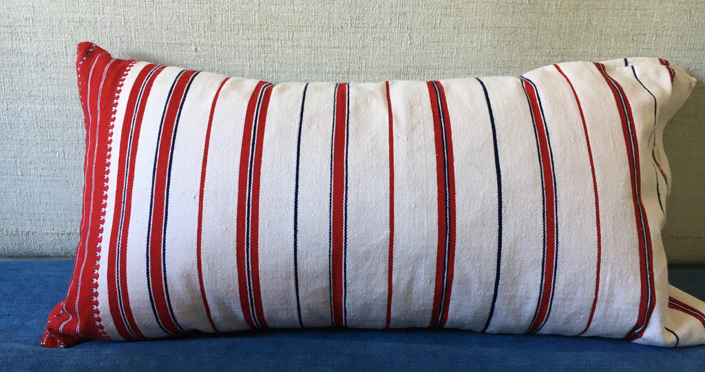 Vintage Slovenian striped hand woven cushion for the garden