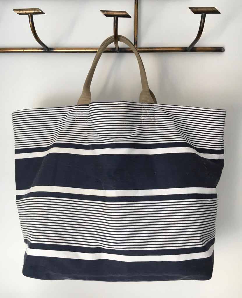 navy blue french ticking stripe handmade bag all vintage textiles
