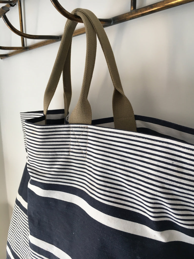 navy blue french ticking stripe market tote or beach bag