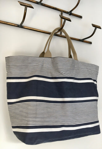 navy blue french ticking stripe market tote by Rebecca's Aix Home