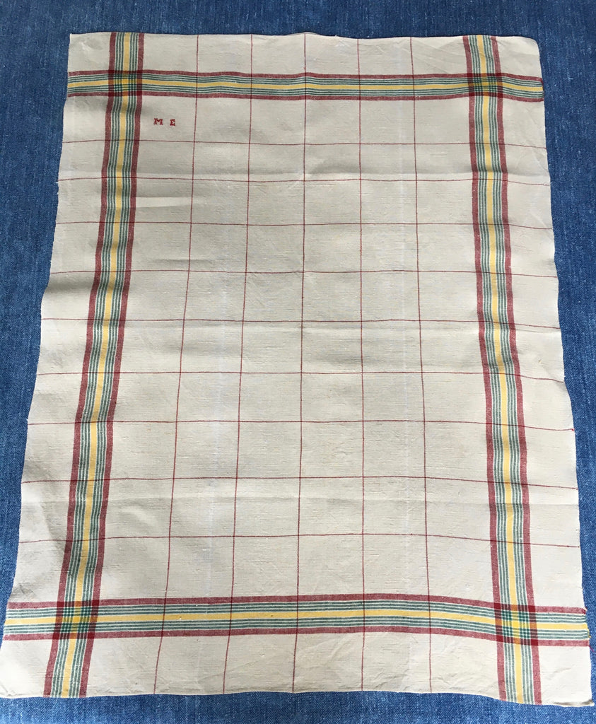 vintage french linen torchon with red,green and yellow stripe and check