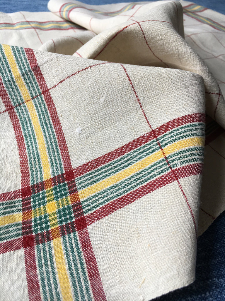 vintage french linen tea towel with red,green and yellow stripe and check by Rebecca's Aix Home