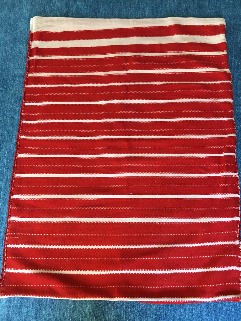 vintage hand loomed red and white striped pillow cover by Rebecca's Aix Home