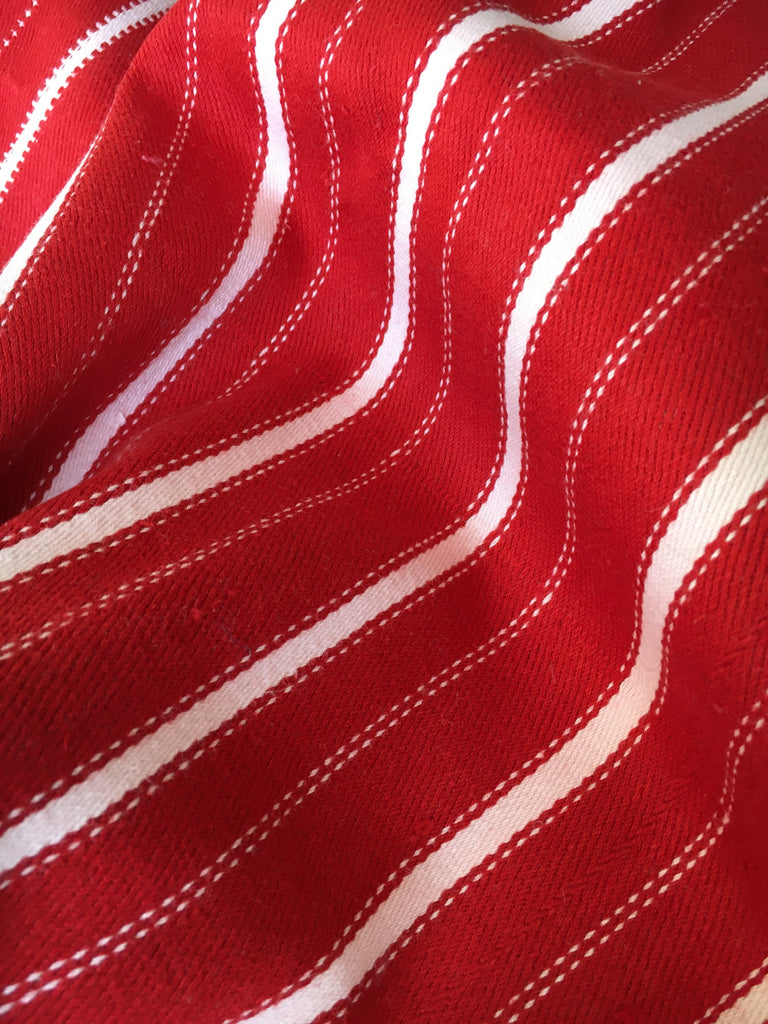 vintage hand loomed red and white striped floor cushion