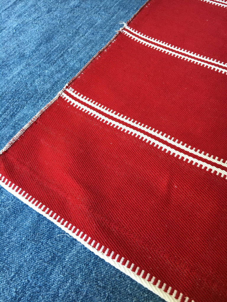 red and white stripe slovenian fabric for upholstery hand loomed vintage
