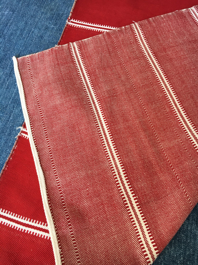 red and white stripe slovenian table runner hand loomed vintage fabric for sewing projects