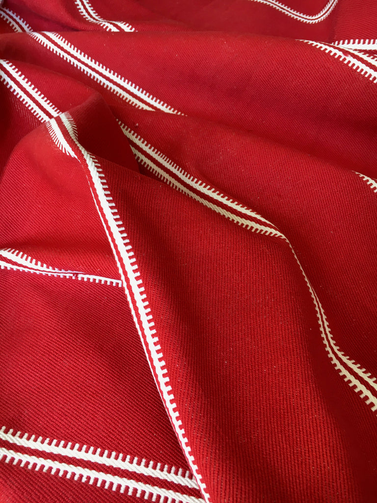 red and white stripe slovenian table runner hand loomed vintage