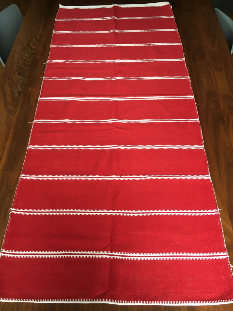 red and white stripe table runner by Rebecca's Aix Home