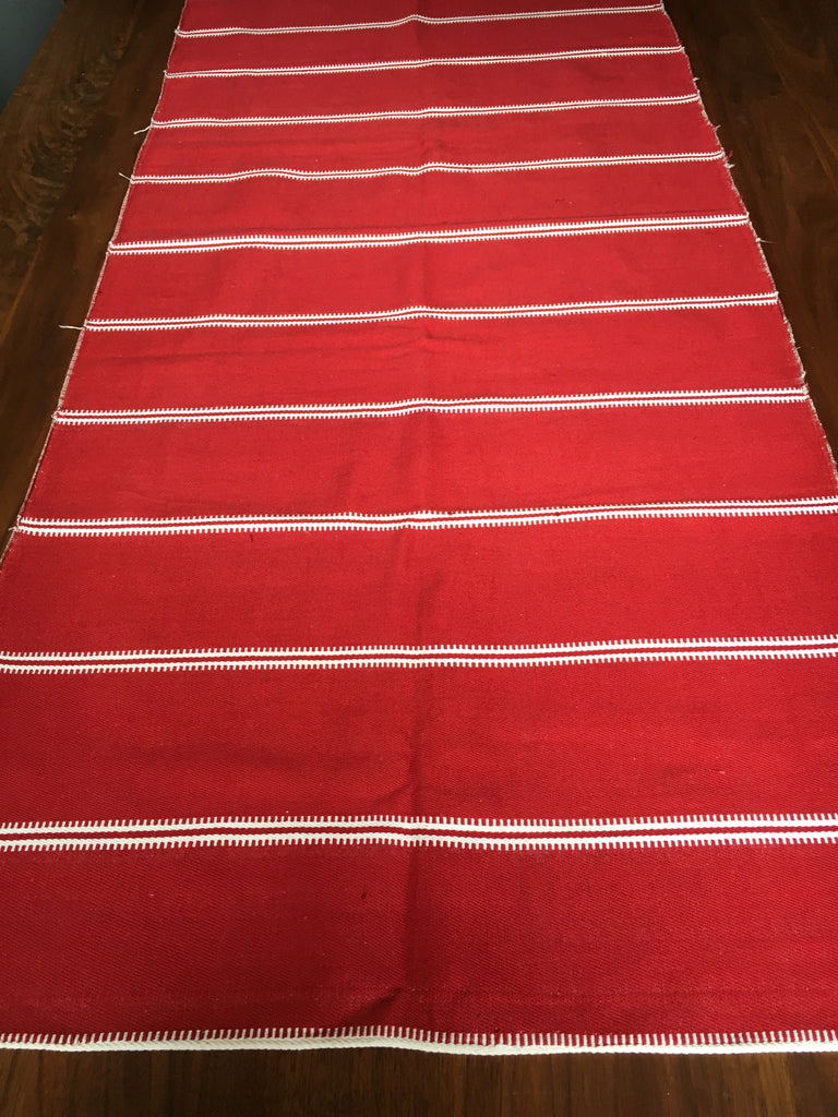 vintage hand loomed red upholstery fabric