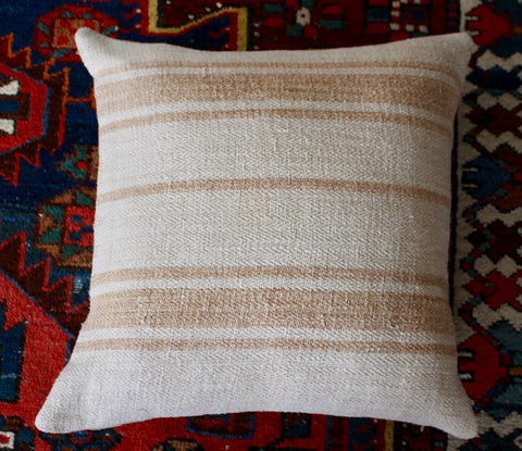 vintage Hungarian grain sack cushions with soft yellow stripe