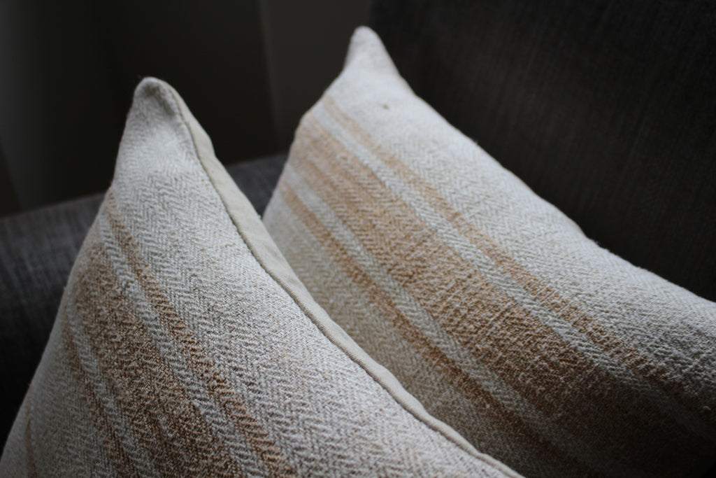 vintage Hungarian grain sack pillows  with mustard yellow stripe