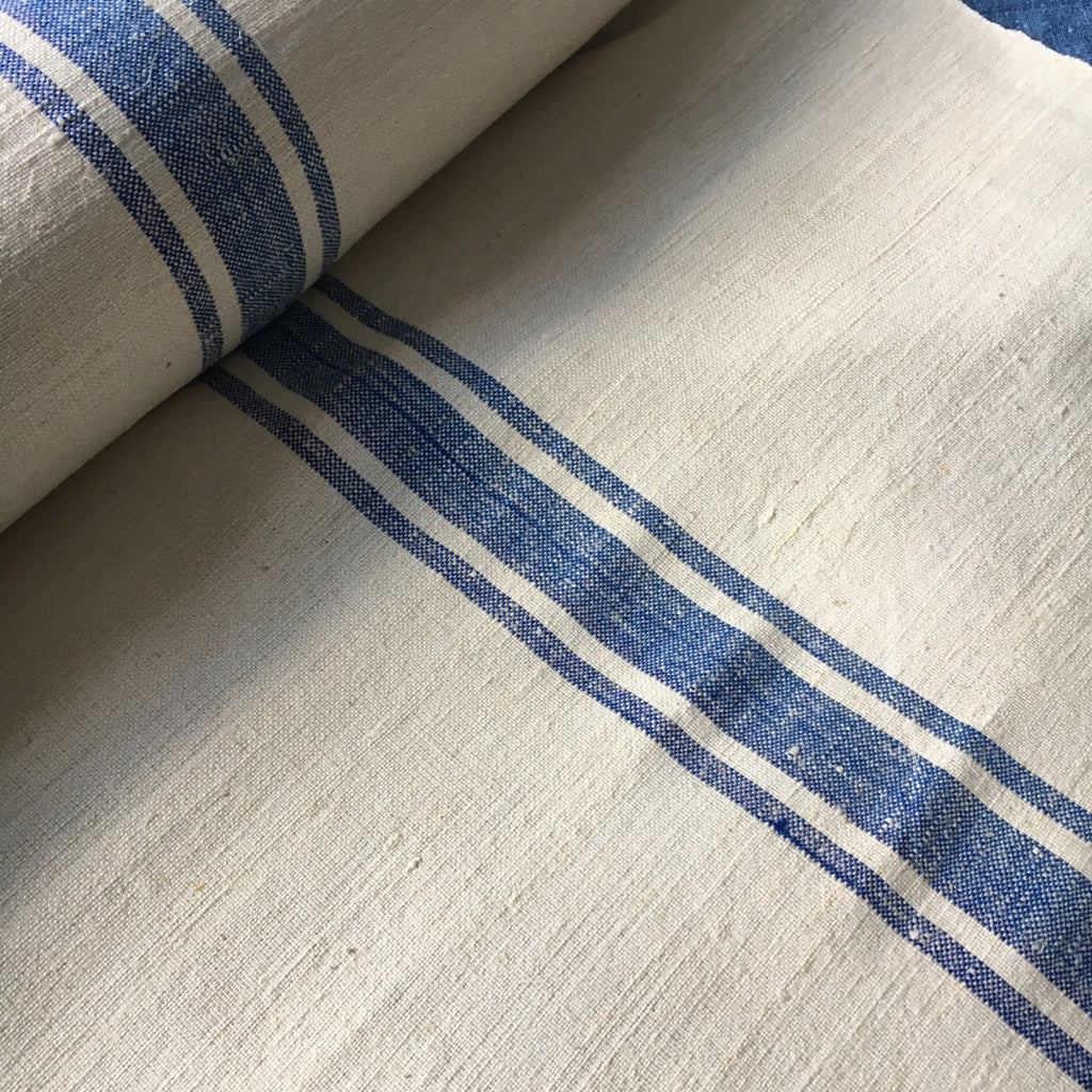 blue stripe vintage linen for upholstery and cushions by Rebecca's Aix Home