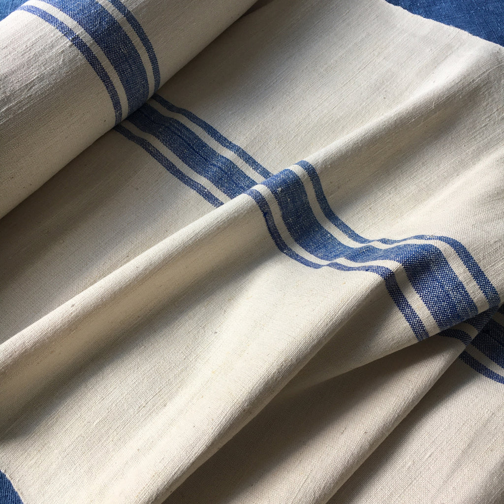 12 metres of blue stripe vintage linen for upholstery and cushions