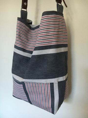 antique french ticking stripe shoulder bag grey and pink stripe with leather strap