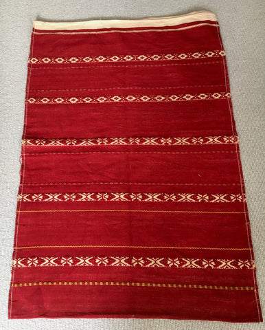 red and white vintage hand loomed pillow cover upholstery fabric by Rebecca's Aix Home