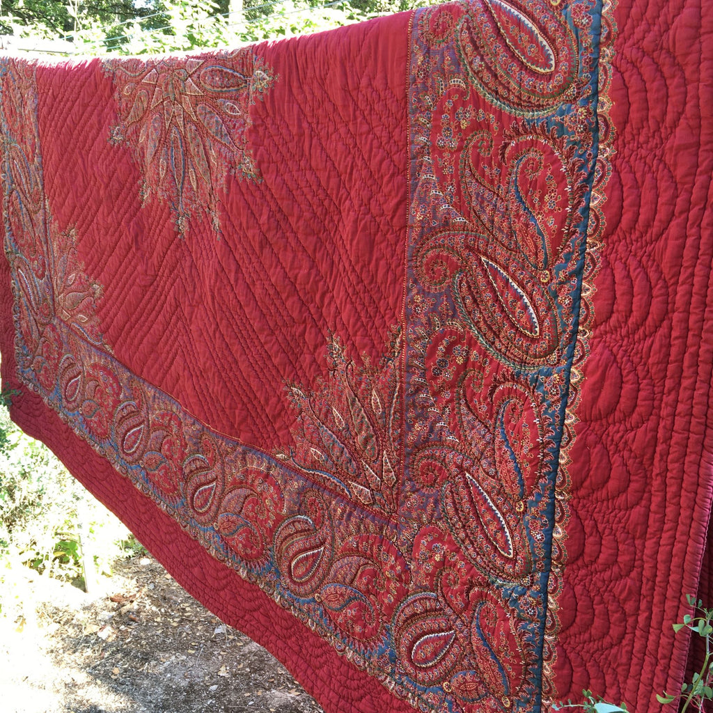 antique french provencal paisley red quilt by Rebecca's Aix Home