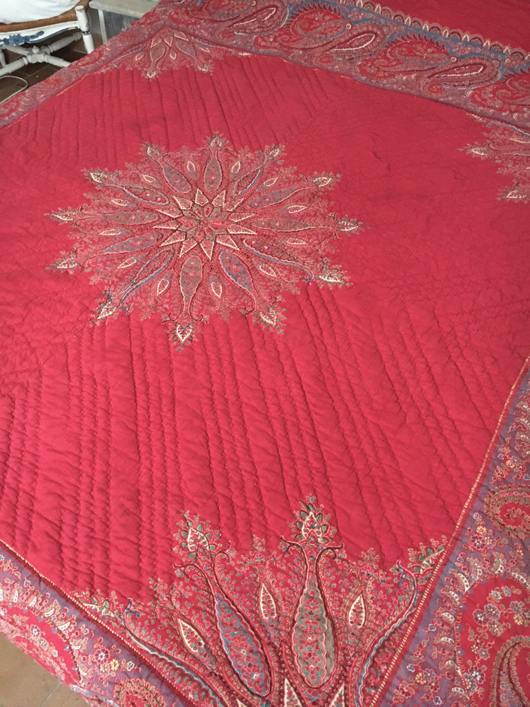 country style  french provencal paisley red quilt