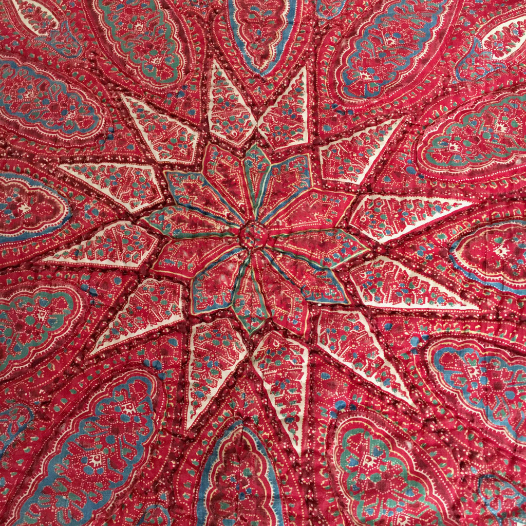 vintage  french provencal paisley red quilt with red star pattern