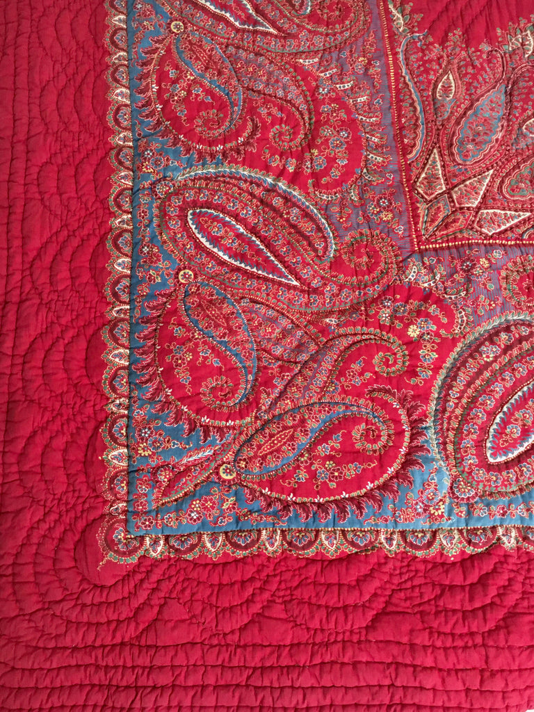 french provencal paisley red quilt with warm wool filling