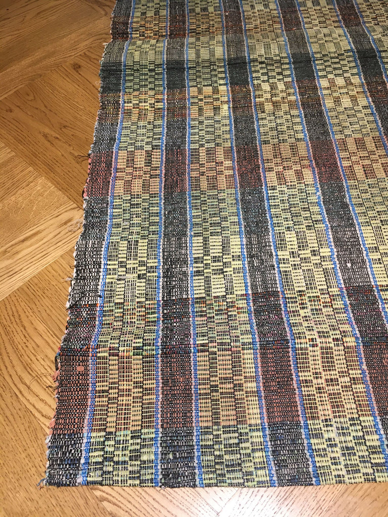 vintage hungarian floor runner blue, black and yellow checked rips rug floor runner