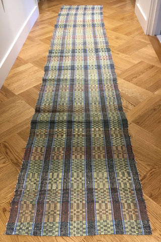 blue, black and yellow checked rips rug vintage hungarian floor runner