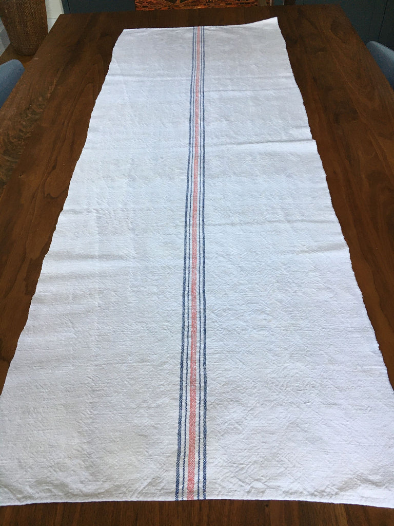 oatmeal grainsack fabric with blue and red stripe or cushions, table runner, striped burlap