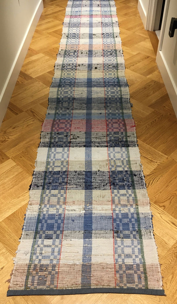 blue black red and white checks and striped floor runner rips rug machine washable