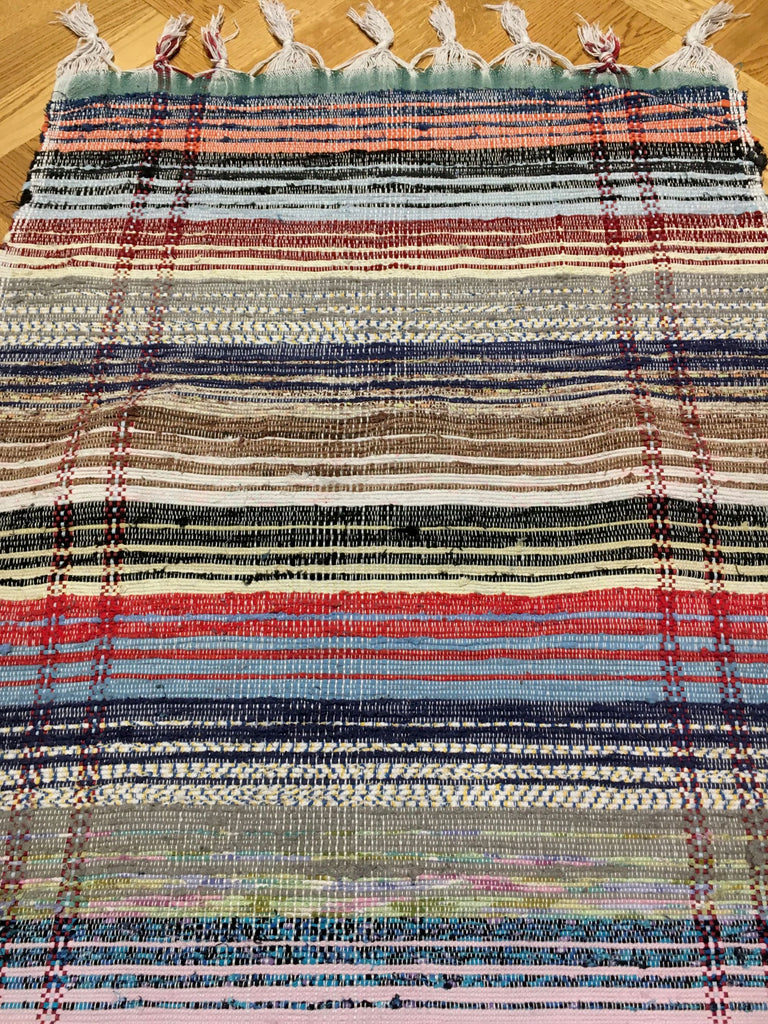 rainbow coloured long striped floor runner machine washable cotton rug