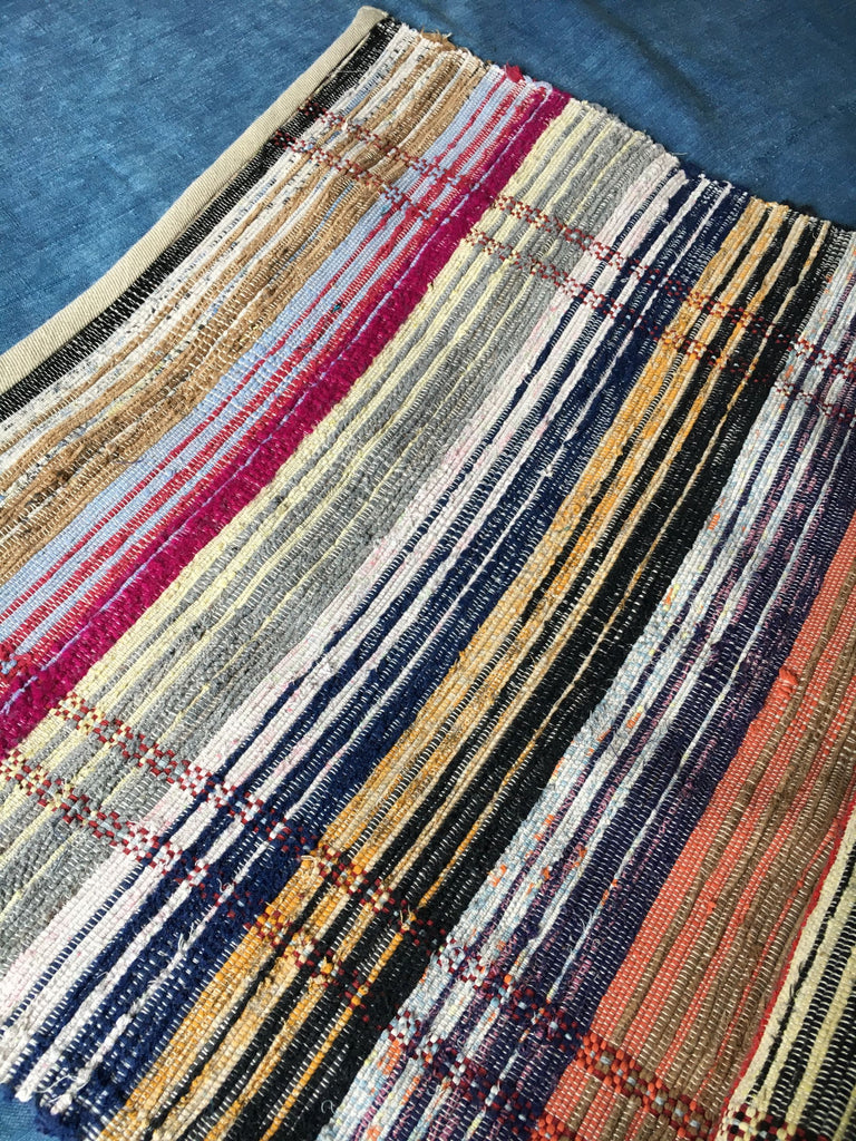 Hungarian cotton rainbow coloured long striped floor runner hall mat