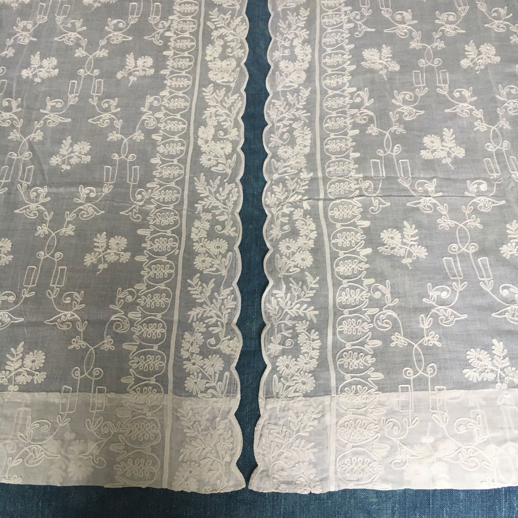 vintage french rideau de cornelys sheer white crewelwork curtain pair of net curtains
